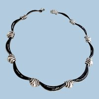Antonio Pineda Silver and Obsidian Necklace