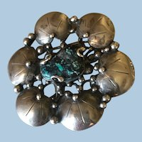 Mary Gage Sterling Silver Brooch with Turquoise