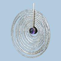 Georg Jensen Sterling Silver and Amethyst Pendant Designed By Bent Gabrielsen