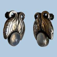 Pair of Georg Jensen Sterling Earrings with Moonstone, Design No. 108