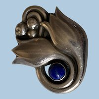 Georg Jensen Sterling Brooch with Lapis, Design No. 100A