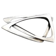 """Sterling Silver """"Triangles"""" Brooch by Poul Warmind"""