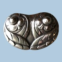 "Georg Jensen Early 830 Silver ""Owl""  Brooch No 44"