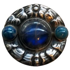 Georg Jensen 826 Silver Antique Brooch No.49. with Labradorite Stone