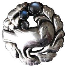 Georg Jensen 830 Silver Bird Brooch No. 134 With Moonstones