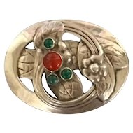 George Jensen Sterling Silver Amber and Chrysoprase Brooch No. 13