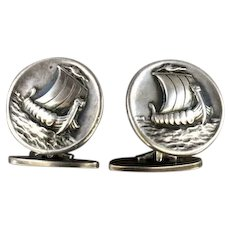 "Georg Jensen Sterling Silver ""Viking Ship"" Cufflinks No. 50 Designed by Harald Nielsen"