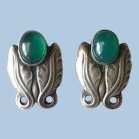 Georg Jensen Sterling Silver Foliate Earrings No. 108 with Green Chrysoprase