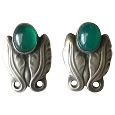 Georg Jensen Sterling Silver Foliate Earrings No. 108 with Green Chrysoprase