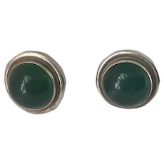 Georg Jensen Sterling Silver Earrings No.44D With Green Agate