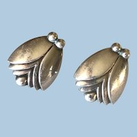 "Georg Jensen Sterling Silver ""Tulip"" Earrings No. 108 By Harald Nielsen"