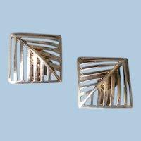 """Georg Jensen Sterling Silver """"Grates"""" Earrings No. 389 by Nanna Ditzel"""