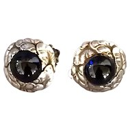 Georg Jensen Sterling Silver Synthetic Sapphire Cabochon Clip-On Earrings No. 74