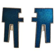 Georg Jensen Sterling Silver Clip-On Earrings With Blue Enamel No.132 by Bent Bonne