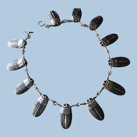 Erik Magnussen Sterling Silver & Enamel Scarab Necklace
