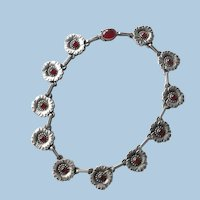 Georg Jensen Sterling Silver Flower Necklace No. 30A With Carnelian Cabochons