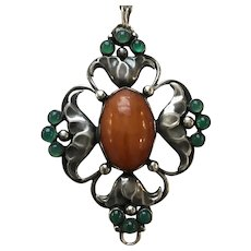 Early Georg Jensen 830 Silver Large Pendant No. 40 with Amber and Chrysoprase