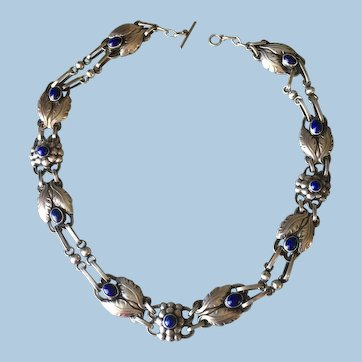 Georg Jensen Sterling Silver Necklace No. 1 with Lapis Lazuli