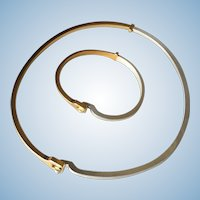 Georg Jensen Sterling Silver & Gold Vermeil Bracelet and Neck Ring Ensemble No. 821B by Andreas Mikkelsen