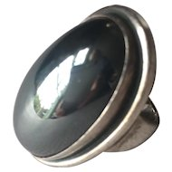 Georg Jensen Ring with Hematite Cabochon by Harald Nielsen
