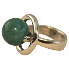 Hans Hansen Sterling Silver Modernist Ring with Amazonite Ball