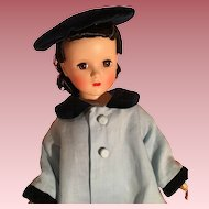 "Pretty vintage  linen and velvet hat and coat set for 18-20"" doll"