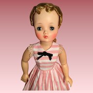 Pink oxford stripe dress for Cissy
