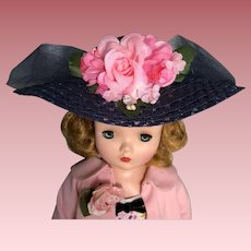 Navy blue hat with pink flowers for Cissy and others