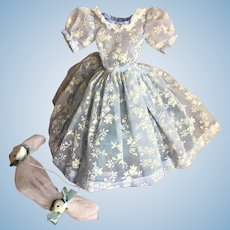 Vintage Blue flocked nylon dress and headpiece for Cissy