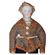 ALL ORIGINAL  Dresden Gentleman Antique Parian Doll China Doll