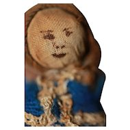 Early Miniature  Antique Cloth Stump Doll in Early Box Dollhouse Size