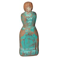 Early Antique Painted Wooden Doll 4 1/4 in.
