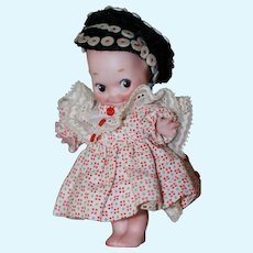 5 1/2 Antique Kewpie Doll w/ Button Cap