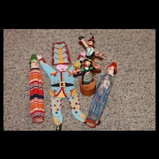 5 Vintage Wood Dolls for Accessories