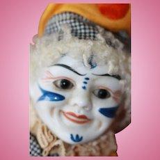 Antique Bisque  Clown w/Cymbals Doll