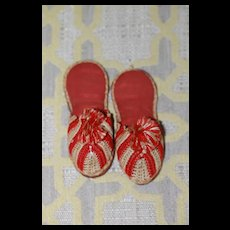 1870s-80s  Crocheted Slippers for Bebe, Bisque Doll