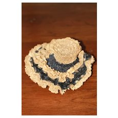 Antique Straw Hat for Bisque Bebe Doll