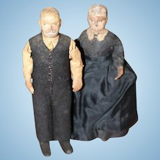 Ca.1870 Hand Carved Wood Dolls East Coast