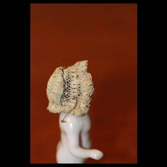 Antique Miniature Bonnet for Dollhouse Doll