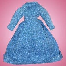 Antique Indigo Calico Dress for China, Cloth Doll