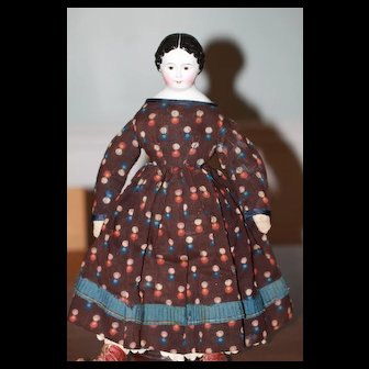 Early Antique China Doll, Calico Dress