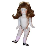 Pink Stockings 4in Kestner Bisque Doll DollHouse