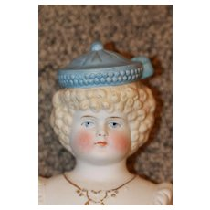 Fab Hatted Bisque Doll Head