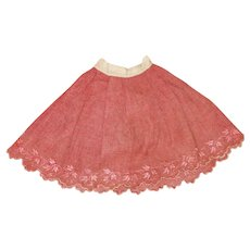 Antique Red Petticoat for Bisque, China Doll