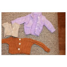 3 Vintage Hand Knit Doll Sweaters