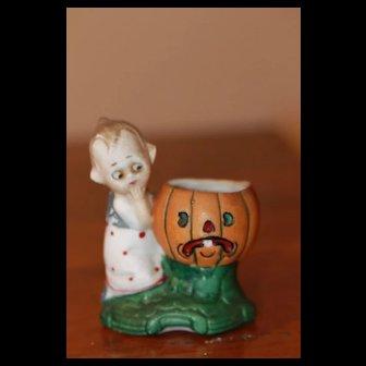Antique Halloween Bisque Doll Jack o Lantern Pumpkin