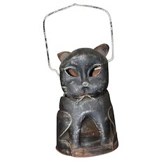 Am. Folk Art Cat Lantern Halloween Metal