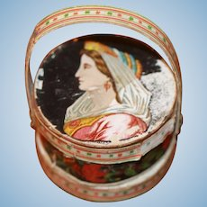 Early Candy Container Hat Box French Fashion, China Doll