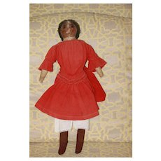 Early Black Doll Oil Painted Face