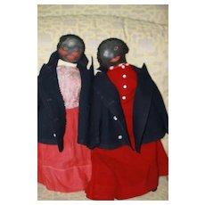 Black Antique Sister Dolls African-American Cloth Dolls